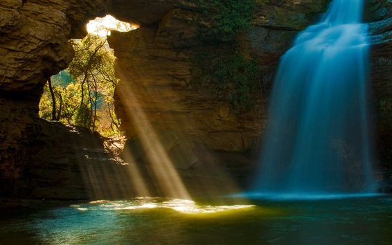 Wallpaper Cave waterfalls, sun rays, trees, water