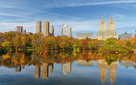 Fondos de pantalla Central Park, Nueva York, EE.UU., árboles, rascacielos, lago, agua, reflexión, otoño