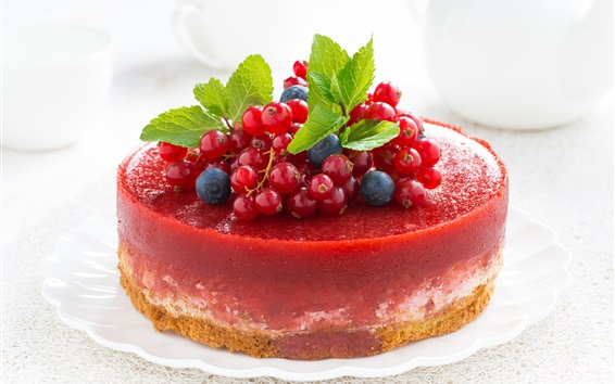 Wallpaper Cheesecake, berries