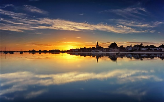 Wallpaper Chichester Harbour, West Sussex, England, houses, water reflection, sunset