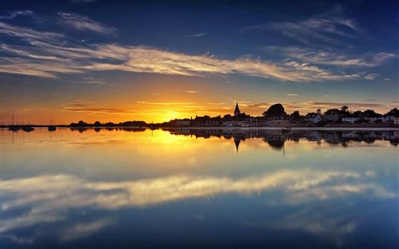 壁紙 チチェスター港、ウエストサセックス、イングランド、住宅、水の反射、日没