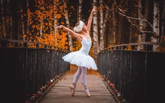 Papéis de Parede Criança menina, bailarina, ponte de madeira, árvores, outono