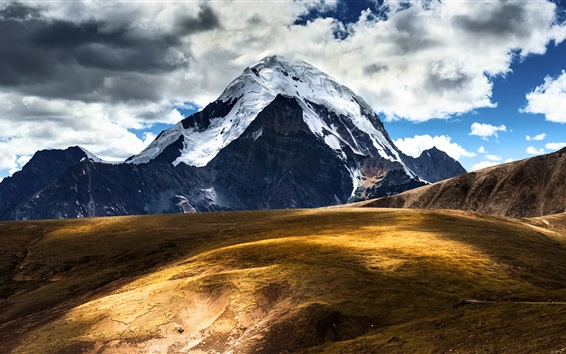 Wallpaper China, Tibet, mountains, snow, sky, clouds, nature landscape