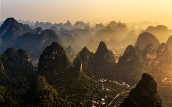 Wallpaper China, mountains, village, fog, morning, Guilin natural landscape