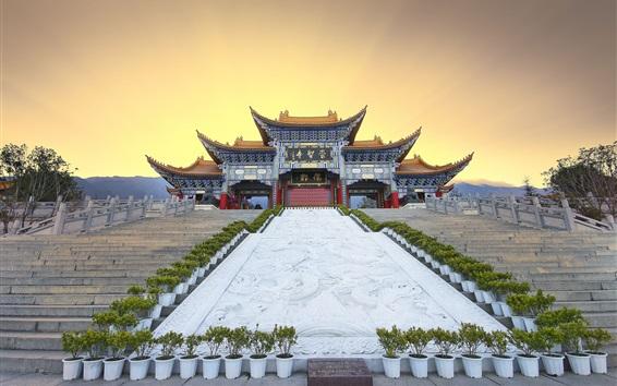 Fond d'écran Chine, temple, escaliers, Coucher soleil