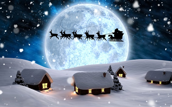 Wallpaper Christmas creative design, Santa Claus, deer, night, moon, house, snow