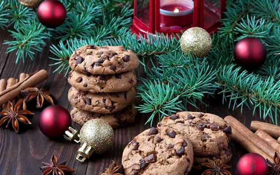 Wallpaper Christmas food, chocolate cookies, tree branches, balls, candle