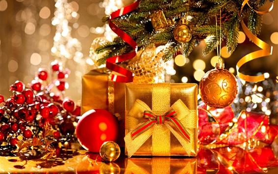 Fond d'écran Cadeaux de Noël, boules, décorations, vacances, Nouvel An