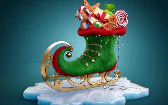 Wallpaper Christmas gifts, skate, snowflake