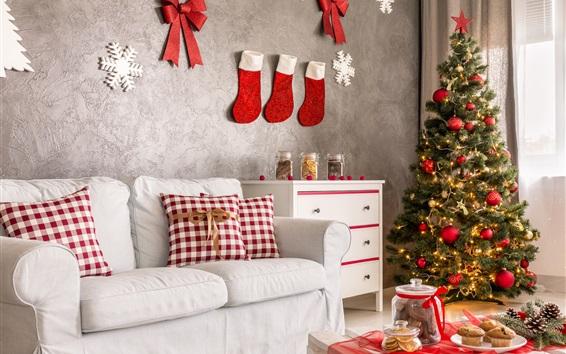 Wallpaper Christmas home decoration, sofa, socks, cookies, Christmas tree, holiday lights