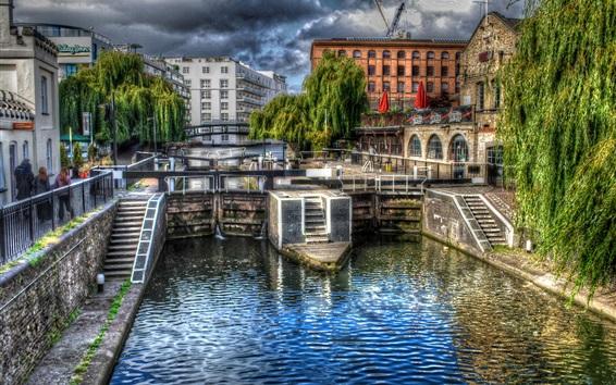 Wallpaper City, bridge, river, street, houses, clouds, London, UK