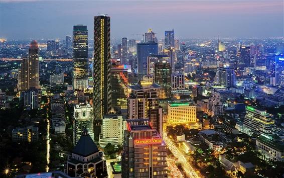 Fond d'écran Ville, nuit, Bangkok, Thaïlande, bâtiments, lumières