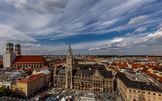 Wallpaper City view, houses, street, clouds, Munich, Germany