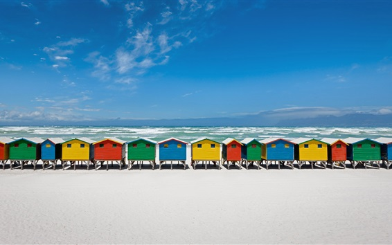 Coast, beach, sea, resort, colorful wooden houses Wallpaper Preview