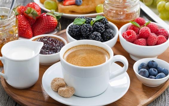 배경 화면 커피와 딸기, 라스베리, 딸기, 블루 베리, 블랙 베리