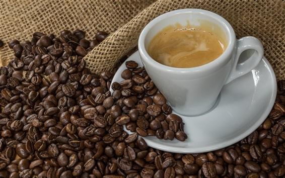 Wallpaper Coffee beans, cup, burlap