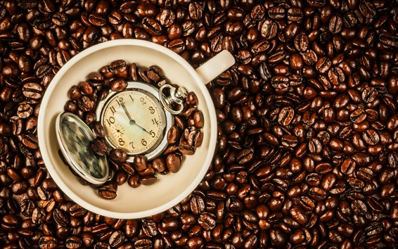 Обои Кофе в зернах, чашка, время часы