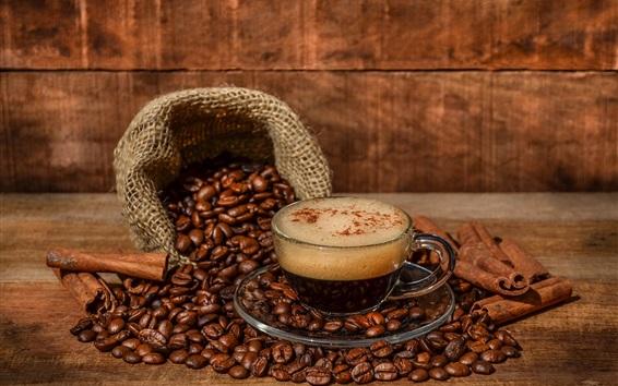 Обои Пить кофе, стеклянная чашка, сумка, кофе в зернах