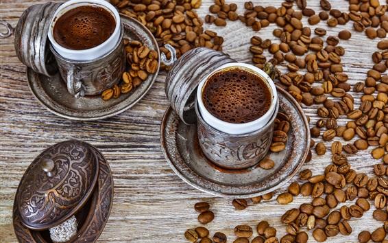 Wallpaper Coffee drinks, foam, cups, coffee beans