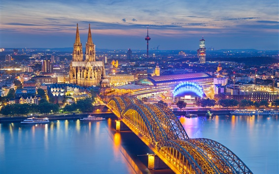 Wallpaper Cologne, Germany, Cathedral, night, city, houses, bridge, river, illumination