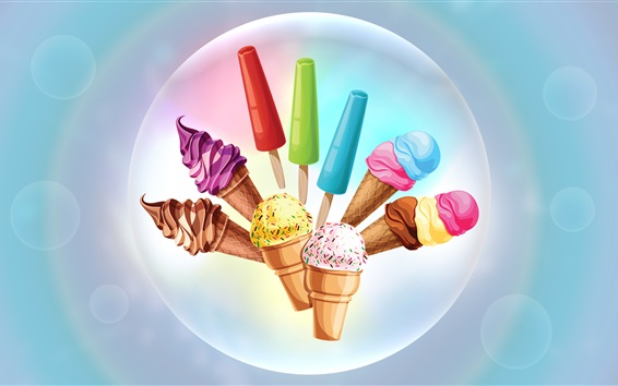Wallpaper Colorful ice cream, vector design