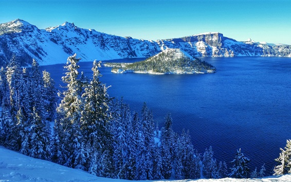 Wallpaper Crater Lake National Park, USA, mountains, snow, trees, island