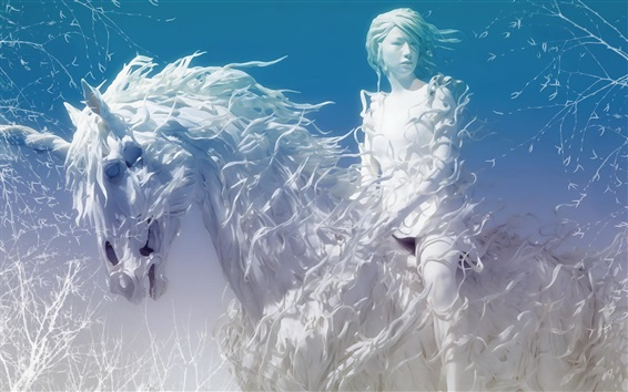 Wallpaper Creative art, white style girl and unicorn