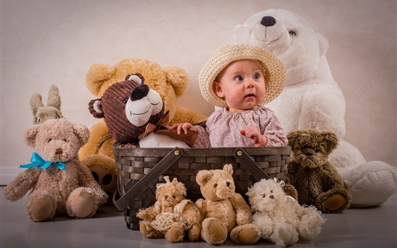 Wallpaper Cute baby have lot of teddy bears