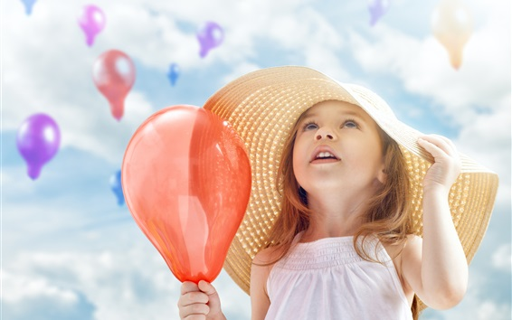 Wallpaper Cute little girl, child, balloons, hat, summer