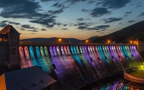 Wallpaper Dam night, rainbow-colored lighting