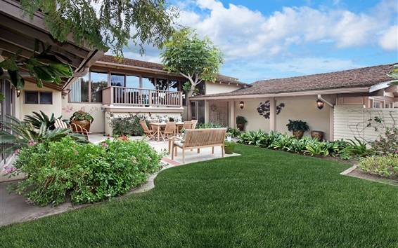 Wallpaper Dana Point, USA, mansion, house, bushes, lawn
