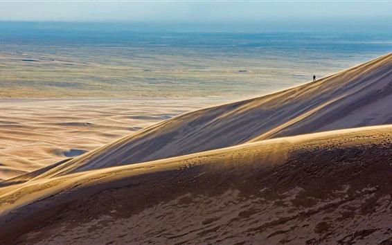 Wallpaper Desert, barren land, lonely person