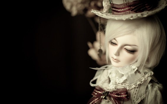 Wallpaper Doll, toy girl, hat