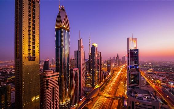 Wallpaper Dubai city night views, skyscrapers, road, traffic, lights