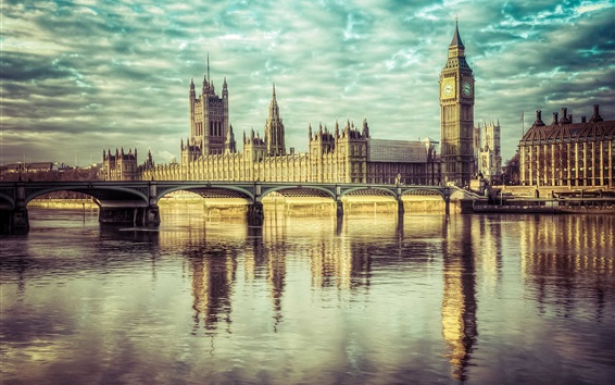 Wallpaper England, London, Big Ben, river Thames, Westminster bridge, palace, clouds
