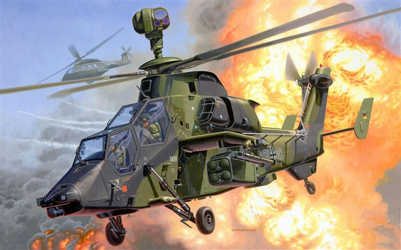 Eurocopter tiger, helicopter, art pictures Wallpaper Preview