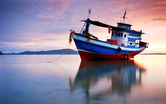 Wallpaper Evening, sea, water reflection, ship, sunset