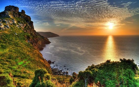 Papéis de Parede Exmoor, nacional, parque, Inglaterra, pôr do sol, mar, costa, Nuvens