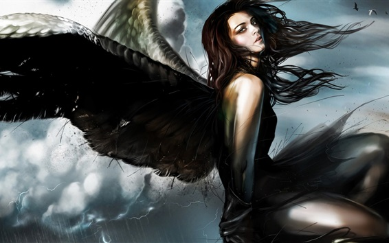Wallpaper Fantasy angel, girl, black wings