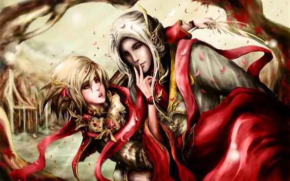 Papéis de Parede Fantasia arte, menina e menino elfos
