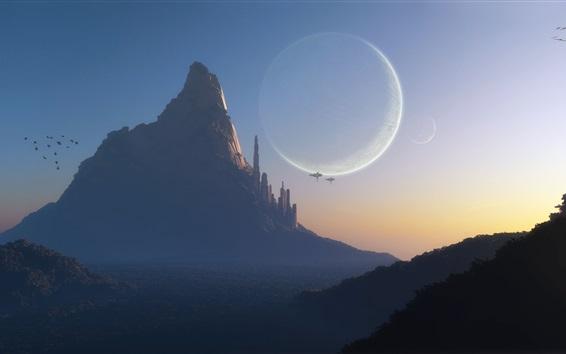 Обои Мир фантазий, арт-дизайн, горы, город, планета, космические корабли, сумерек