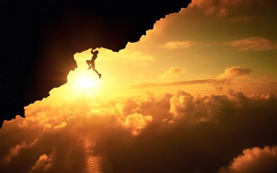 Fond d'écran Fatal escalade, silhouette, coucher de soleil, nuages, falaise, sports