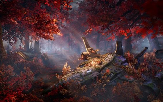 Fond d'écran Forêt, automne, vaisseau spatial brisé, conception d'art