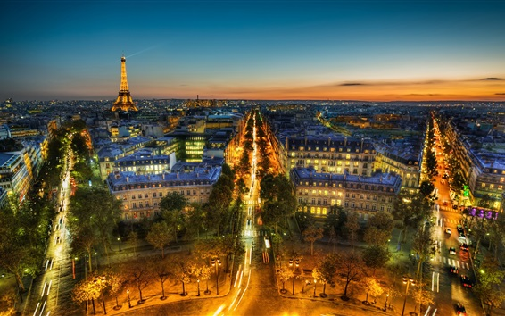 Wallpaper France, Paris, Eiffel Tower, panorama, city night view, lights, street