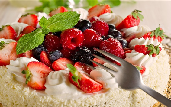 Wallpaper Fruit cake, strawberry, blueberries, raspberry, cream, dessert