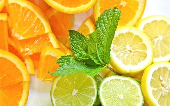 Обои Фруктовый ломтик, лимон, апельсин, лайм, мята