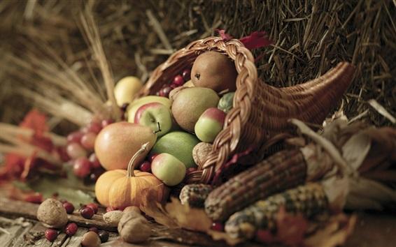Papéis de Parede Frutas e vegetais, maçãs, peras, bagas, milho, abóboras, nozes