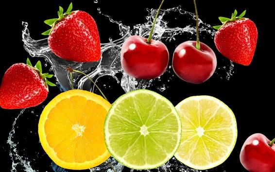 Wallpaper Fruits in the water, cherries, strawberries, lemon