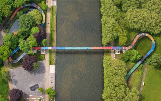 Wallpaper Germany, North Rhine-Westphalia, top view, channel, bridge, river, trees