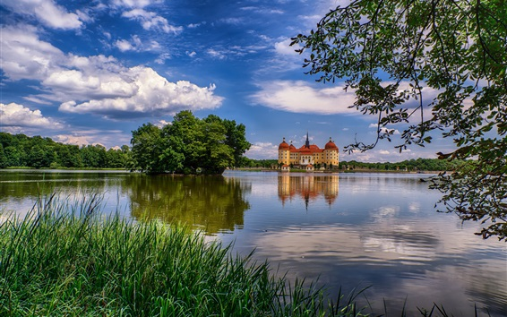 Wallpaper Germany, Saxony, Moritzburg, castle, lake, trees, clouds, dusk